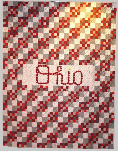 """7: """"SCRIPT OHIO"""" twin size Ohio State quilt in scarlet"""