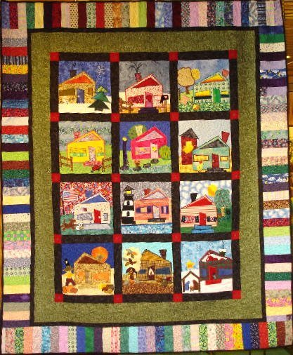 """8: """"STROLL AROUND THE BLOCK"""" block-a-month quilted wall"""