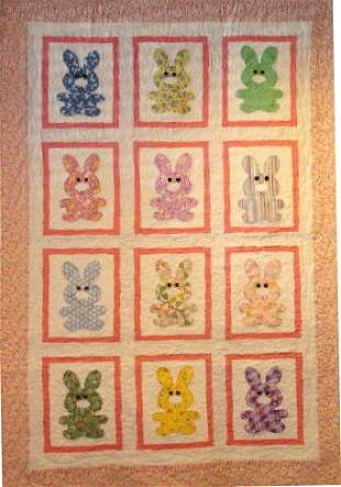 """""""BUNNY TALES"""" pastel child's old fashioned bunny qui"""