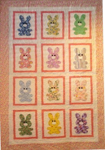 """9: """"BUNNY TALES"""" pastel child's old fashioned bunny qui"""