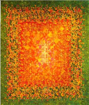 """""""MOLTEN LAVA"""" full size blooming nine patch quilt i"""