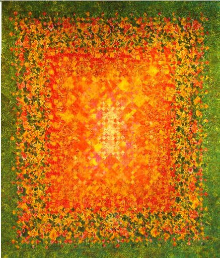 """11: """"MOLTEN LAVA"""" full size blooming nine patch quilt i"""