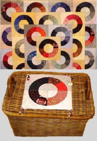 """12: """"PUSHING THE SCARLET & GREY"""" art quilt with layered"""