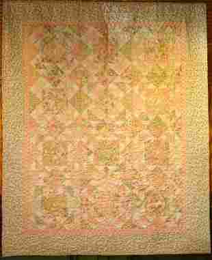 """""""SOFT TOUCHES"""" lap quilt in soft peach, celery and"""