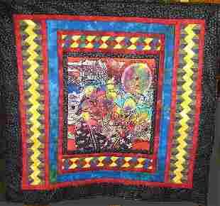 """BALINESE BEAUTIES"" art quilt embellished batik wom"