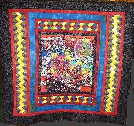"17: ""BALINESE BEAUTIES"" art quilt embellished batik wom"
