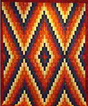 """""""NAVAJO DAWN"""" full size quilt in orange, gold and b"""