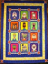 """23: """"DAZZLING DOGS"""" lap quilt with twelve whimsical dog"""