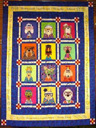 """""""DAZZLING DOGS"""" lap quilt with twelve whimsical dog"""