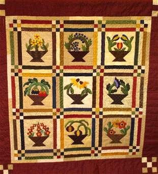 """""""BASKETS OF BLOOMERS"""" hand appliqued wall hanging i"""