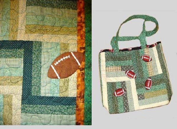 """25: """"GO GATORS"""" stadium quilt and matching bag in green"""