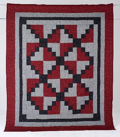 2: SCARLET & GRAY HOPSCOTCH pattern twin size quilt by
