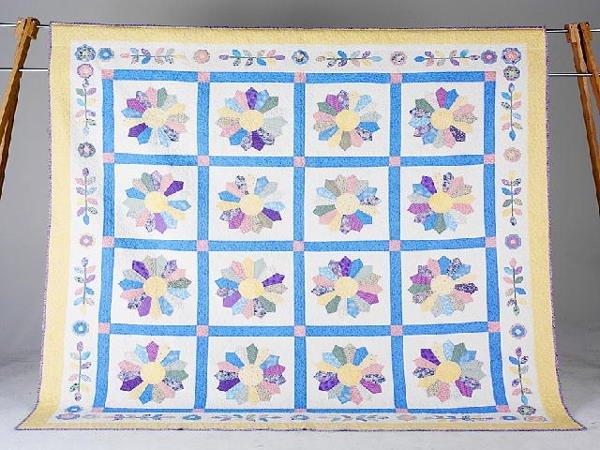 12: DRESDEN PLATE & POSIES queen quilt by Joyce Bonham.