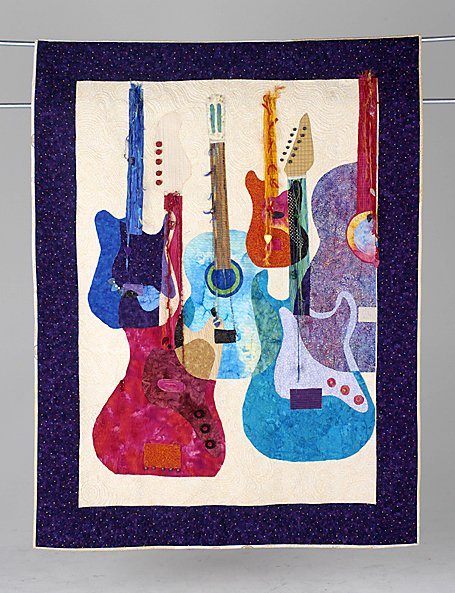 13: GUITAR QUILT art quilt by Mariann Crowley. Guitar Q