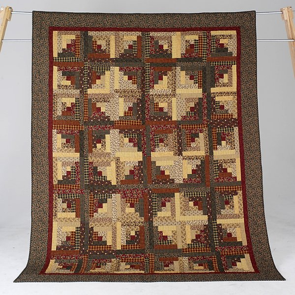 16: HOME & HEARTH LOG CABIN full size quilt by The Acci