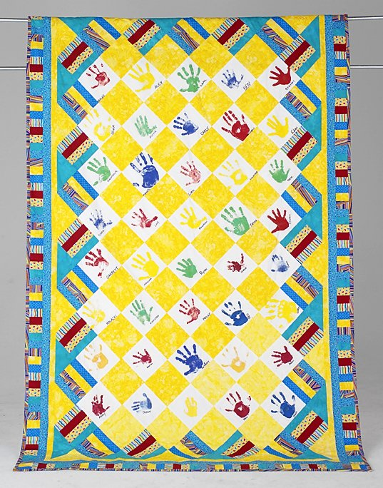 19: HANDS OF HOPE twin quilt by Michell Neal. Hands of