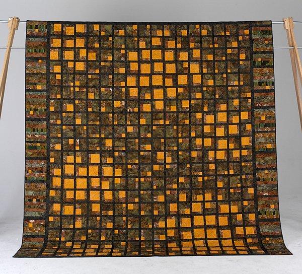 21: BOUNDARIES queen sized art quilt with batik fabrics
