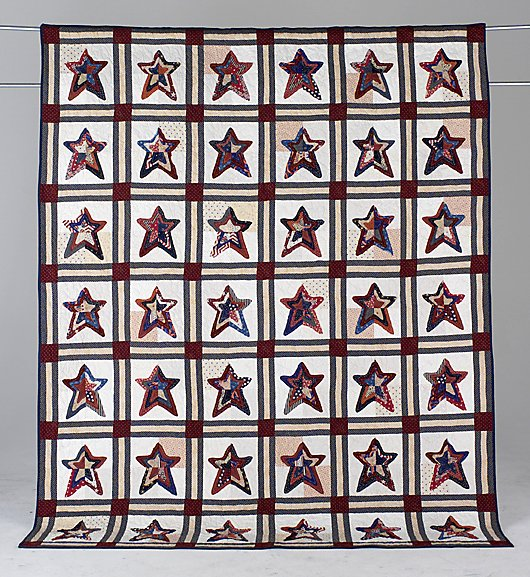 24: FRINGY STARS patriotic twin size quilt with large p