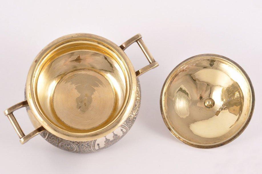 Silver Enamel Sugar Bowl Lyubavin Russia 1896-1908