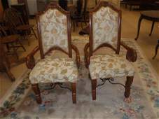 Pair of VERY HEAVY solid walnut arm chairs