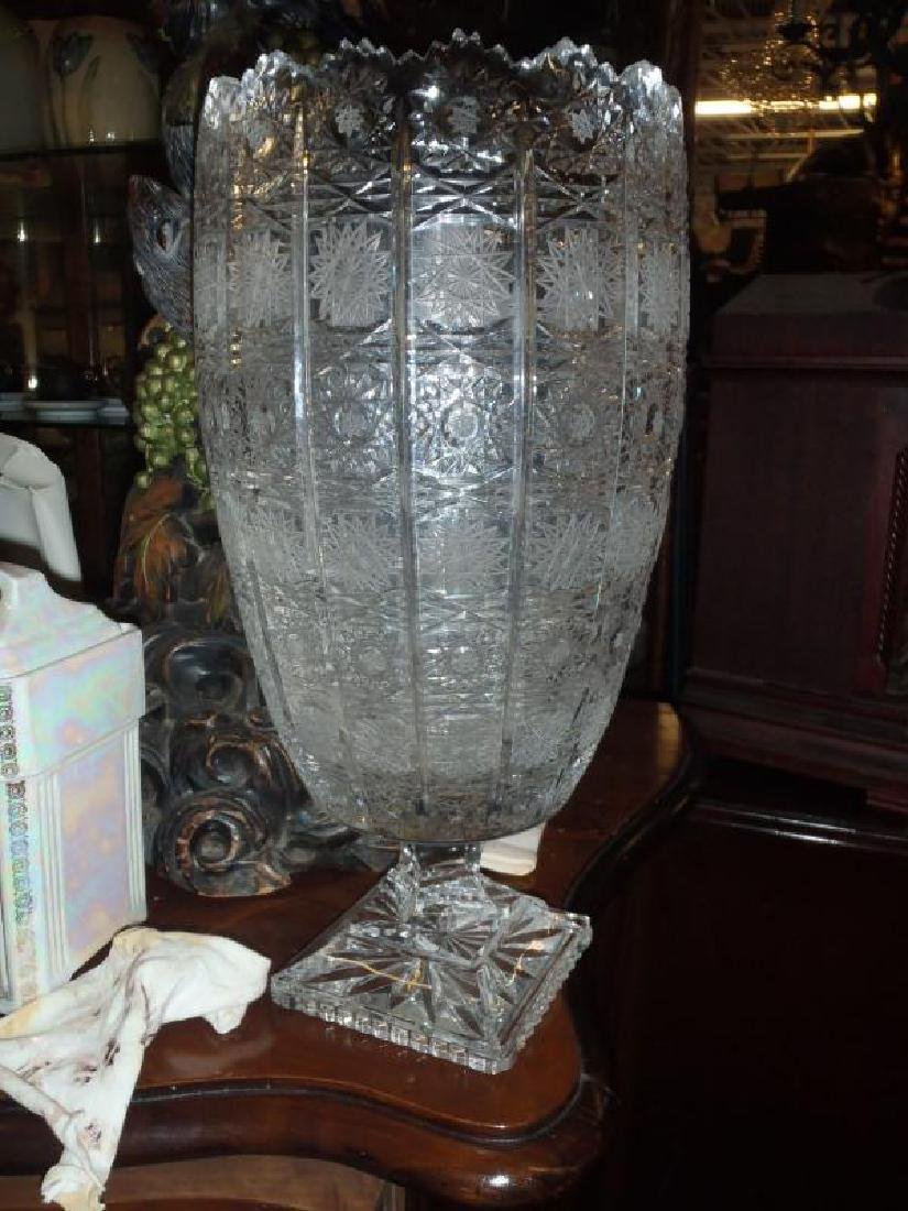 18 inch heavy Bohemian cut glass vase