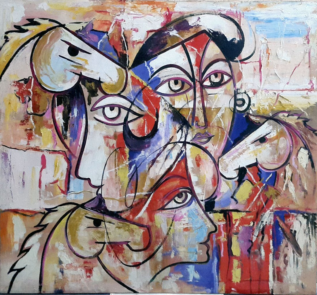"Pakistan Artist Yousaf Shah ""ABSTRACT"" Oil Painting"