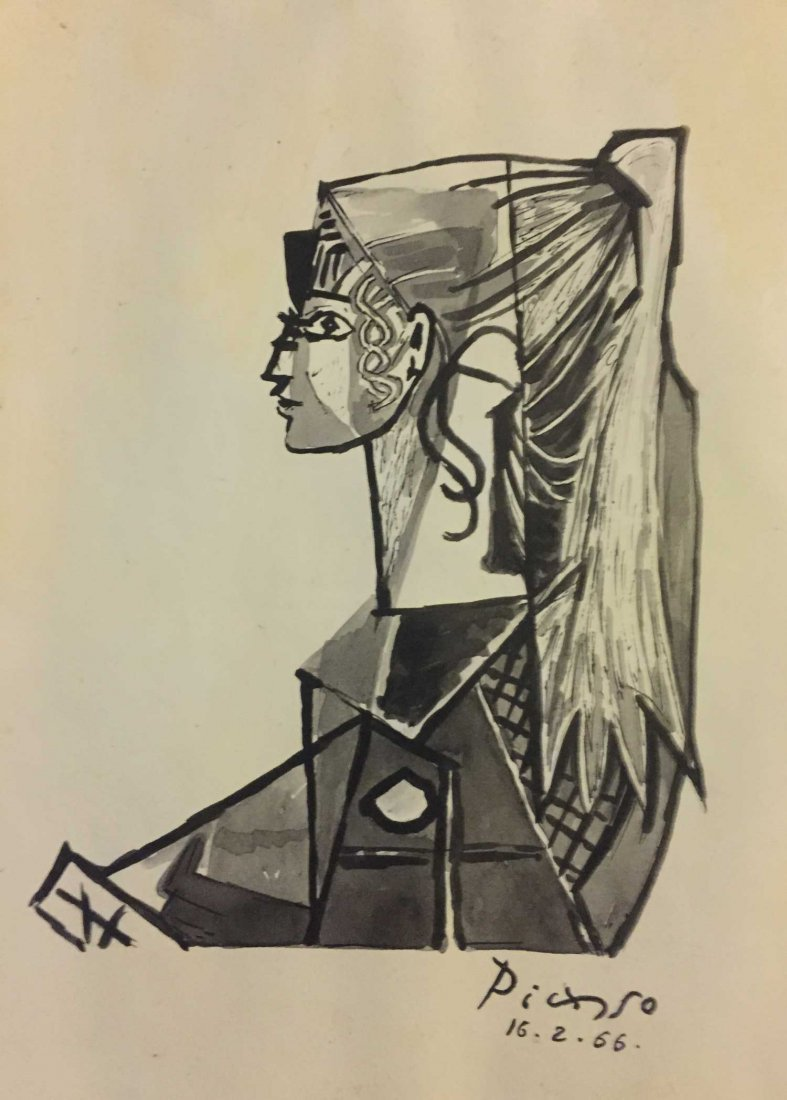 Pablo Picasso Drawing-Signed-Stamped