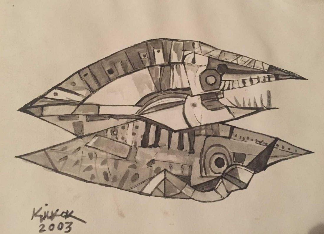 ANG KIUKOK ( 1931 - 2005) -Abstract Fish Signed