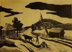 Thomas Hart Benton-Landscape- Signed