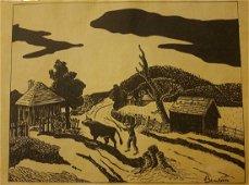 "Thomas Hart Benton Original Drawing""Untitled""-Signed"