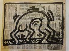 KEITH HARING ORIGINAL SIGNED DRAWING ON 1988 NEWS PAPER