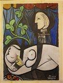 PABLO PICASSO Spanish 1881-1973 Oil Portrait ON PAPER