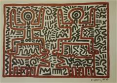 KEITH HARING (1958-1990, American) INK DRWING