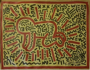 KEITH HARING (1958-1990)OIL ON CANVAS
