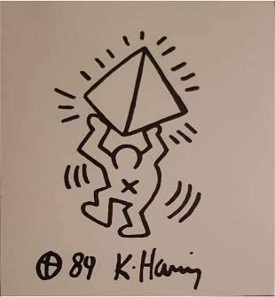 KEITH HARING ORIGINAL SIGNED DRAWING-COA