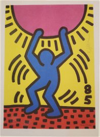KEITH HARING COLORED LITHOGRAPH SIGNED COA