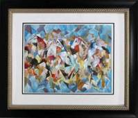 MARCEL MOULY ABSTRACT HORESES SIGNED