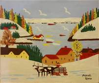MAUD LEWIS CANADA OIL ON Panel-WINTER LANDSCAPE-SIGNED