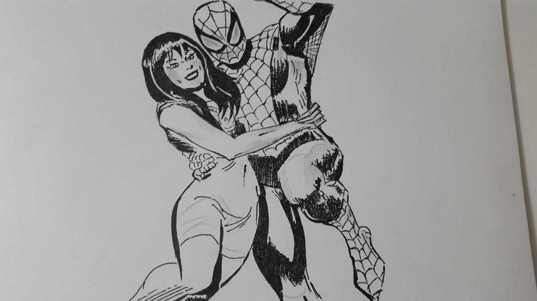 JOHN ROMITA Sr.Spiderman 520 preliminar cover-Signed - 2