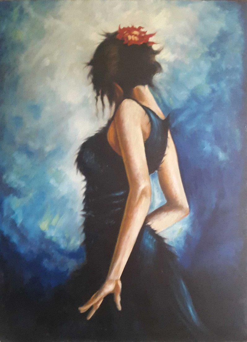 "Pakistan Artist Shakeel ""Girl"" Oil Painting Very Large"