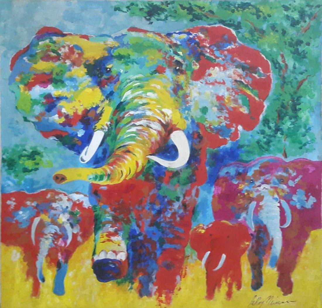 Authentic LeRoy Neiman-Elephants- Signed large Painting