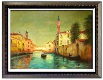 """NOEL BOUVARD LARGE SIGNED OIL""""Scene de Venise"""""""