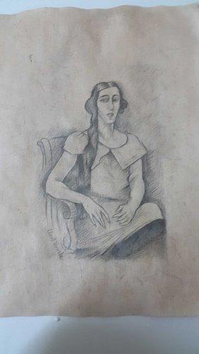 Clovis Trouille Sitting Woman Signed