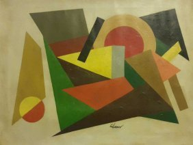 """New York Artist Charles Green Shaw""""abstraction2""""signed"""
