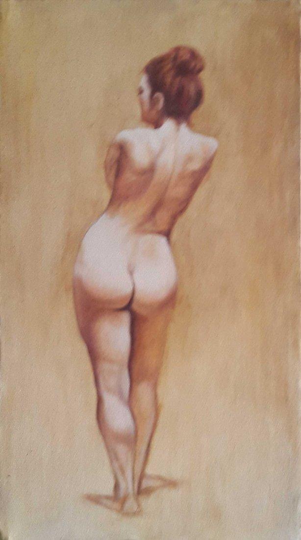 "Pakistan Artist Shakeel ""NUDE"" Oil Painting"