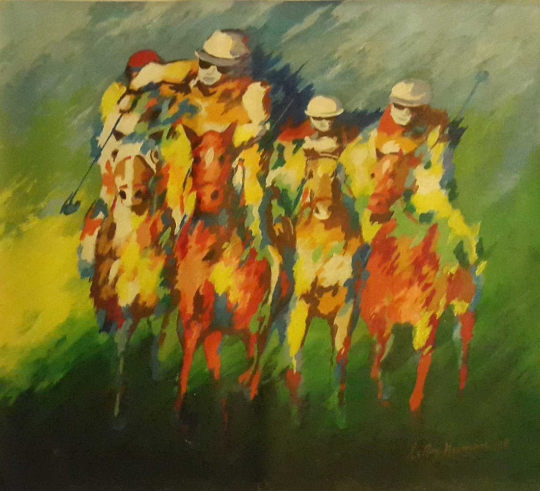 Authentic LeRoy Neiman-RACERS- Signed