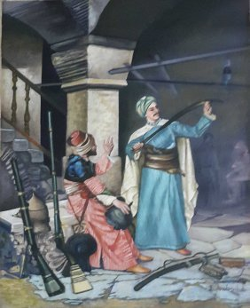Painting by Pakistani artist Eqbal Mehdi-Singed