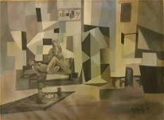 LARGE MARCEL MOULY PAINTING-Nus Abstrait- SIGNED