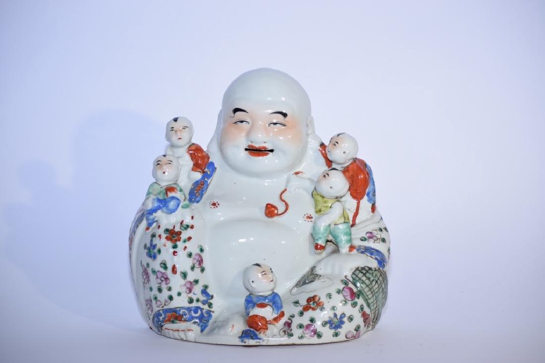 Republic Chinese Famille Rose Buddha, Zhu Mao Sheng Zao