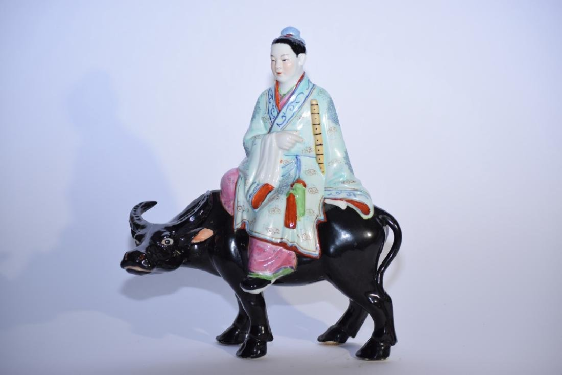 1960-70s Chinese Famille Rose Boy with Bull